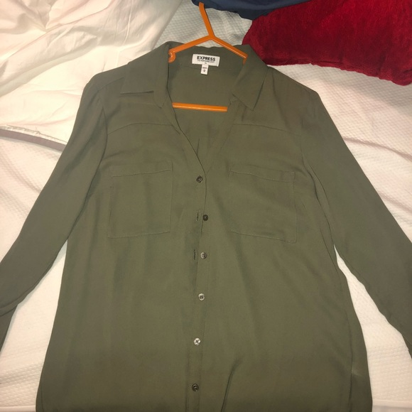 Express Tops - Army or olive green blouse